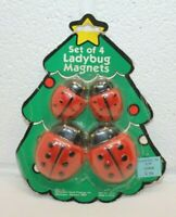 Vintage Set of 4 NOS NIB NEW! Red Ladybug Refrigerator Fridge Magnets Lot CUTE