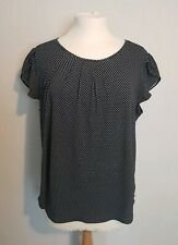 Adrianna Papell Navy & White Polka Dot Spotty Blouse top Sz Large 14 uk