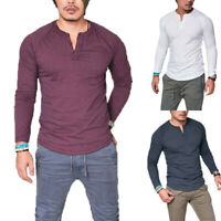 Mens Casual Long Sleeve T-shirt Tops Summer Henley Grandad Muscle Tee Shirts New