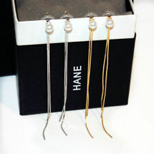 18K Gold Plated Long Chain Tassel Earrings made with Swarovski Elements GOLD