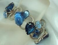 High End X Chunky Art Glass Rhinestone Cobalt Blue  Vintage 60's Bracelet 85JN0
