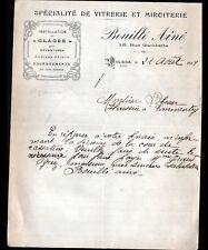 """MOULINS (03) VITRERIE MIROITERIE """"BOUILLE Ainé"""" en 1921"""