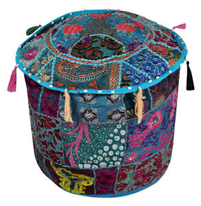 New Blue Vintage Indian Ottoman Stool Cover Patchwork Footstool Decor Pouf Cover