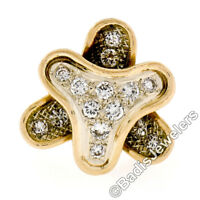 Vintage French 18K Yellow Gold .75ct Round Diamond Unique Textured Cocktail Ring