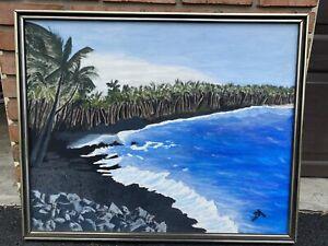 Mixed Media Painting Acrylic Oil Black Sand Beach Hawaiian Islands Framed Signed