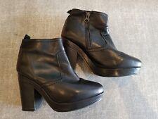Size 6 (39) black leather side zip block heel platform ankle boots