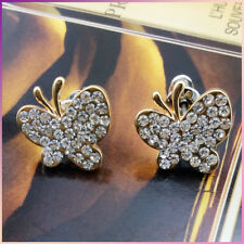 18K Gold Plated Shinning Sparkling Crystal Butterfly Stud Earrings VINTAGE LOOK