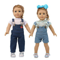 """Hot Latest Handmade Denim Overalls Set Fits 18"""" Inch American Girl Doll Clothes"""