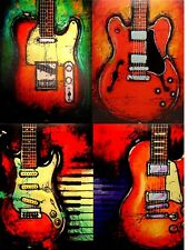 Music Wall Art Abstract Guitar Canvas Prints, Home Decor For Living Room