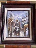 Vintage oil painting on canvas cityscape, European street scene, Signed, Framed