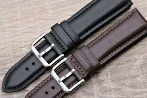 Watch Strap Genuine Smooth Calf Leather Padded Remborde 18mm-24mm