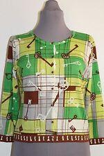 Cabi Cardigan Sweater M 100 Cotton Yellow Green Skeleton Key Pattern FREE SHIP
