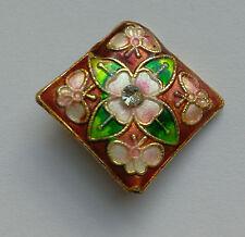 Diamond Cloisonne Bead,Copper Brown/Pink/Rhinestone, 22mm. Jewellery/Crafts