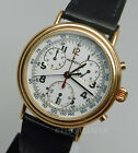 Mens Authentic Swiss Made Movado Four Hand Chronograph Gold White Dial Watch