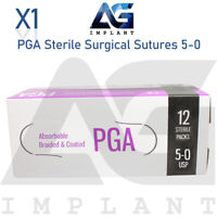 5-0 PGA Sterile Surgical Sutures Absorbable Violet Braided Medical Dental 12pcs