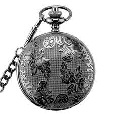 Vintage Antique Silver Carved Quartz Retro Men's Pocket Watches Chain Necklace