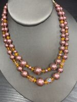 1950S Mauve Pink AB Citrine Glass Beaded Two Strand Pearl Necklace Signed Japan