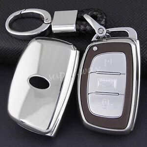 For Hyundai Silver TPU Car Smart Key Fob Case Cover Chain Sonata Tucson Elantra