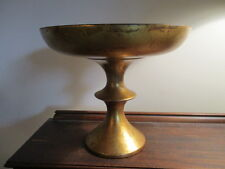 "Vintage Chalkware Compote Centerpiece Bowl Gilded Green Enamel Inside 9"" Tall"