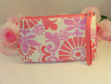 New Clinique Makeup Cosmetic Bag Case Purse Pink & Lavender Floral  Travel Home