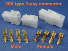 2 Pins Electrical Wire Connector Car Motorcycle ATV 1 kit Terminal Cable #250