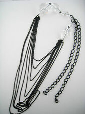 Faceted Crystal Lucite Bead Multiple Chain Tiered Necklace