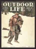 "1911 Philip Goodwin, Bear Hunter, Rifle, Gun, Hunting, OUTDOOR LIFE Cover,16""x11"