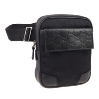 GUCCI GG Pattern Bum Bag Waist Pouch Purse Black Nylon Leather Italy AK44005