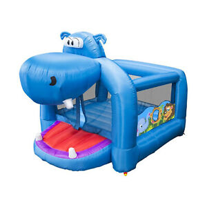 Banzai Happy Hippo Inflatable Bouncer Blow Up Bouncing House w/ Mesh Walls