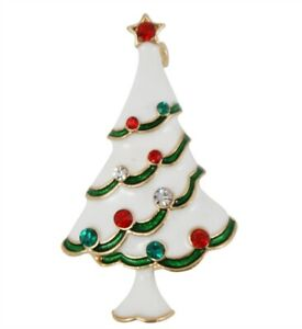 Christmas Brooch / pin - ENAMELLED  CHRISTMAS TREE WITH CRYSTALS Great Gift