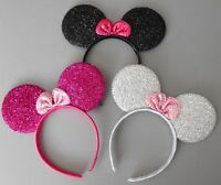 3 x Minnie mouse ears hairband fancy dress party hen night 3 glitter colours