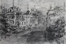Vintage ink painting impressionist cityscape