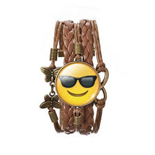 Sunglasses Face Smile Emoji Bronze Brown Leather Emotions Bangle Bracelet BB170