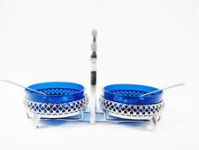 VTG Cobalt Blue Glass Sugar & Cream Bowls w/ Chrome Silver Plated Caddy England
