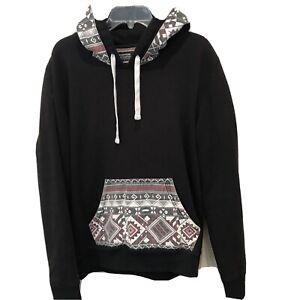 Escapism Denim Co Black w/Aztec Trim Hoodie Sweatshirt Southwestern Navajo Large