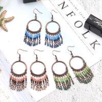 Vintage Women Bohemian Boho Round Shaped Tassel Resin Crystal Dangle Earrings