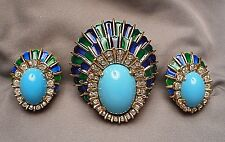 1960s Jomaz Enamel & Faux Turquoise Peacock Feather Motif Brooch & Earrings Set