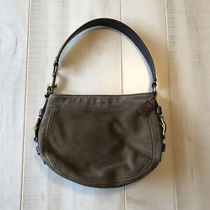 COACH Mini Signature Hobo Leather Suede Brown Bag Small Purse Bronze Hardware