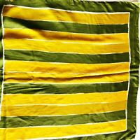 "30"" Vera Neumann Green Stripe Mustard Fall Autumn Scarf 60s Vintage Silk Blend"