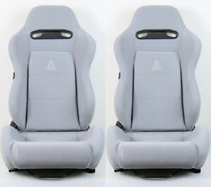 2 X TANAKA GRAY MICRO  CLOTH RACING SEATS RECLINABLE + SLIDERS FIT FOR FORD +