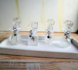 Deko Flakons klein aus Glas, Tischdeko, Vasen klein, 4 er Set, Stückpreis 2,95 E