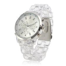 Unisex Fashion Clear Plastic Transparent Band Quartz Wrist Watch Sport Women Men