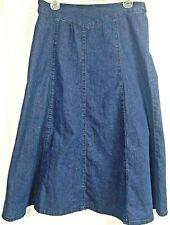 Chadwicks jean skirt size 10 Petite Solid dark blue modest partial stretch waist