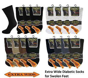Men Gents Extra Wide Diabetic Comfort Top Gentle Grip Socks Big Foot Size 11-14