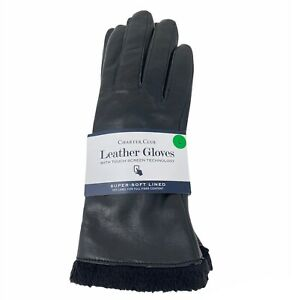 Charter Club Leather Tech Gloves Faux Fur Lined Black Size L $85 New NWT