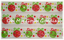 7/8 GLITTER ORNAMENTS RED LIME CHRISTMAS  GROSGRAIN RIBBON 4 HAIRBOW BOW