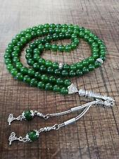 REAL Green Jade  Stone Islamic Prayer 99 beads Tasbih Misbaha Rosary Tasbeeh 8mm