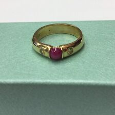 14K REAL YELLOW GOLD RED Ruby & Yellow Diamond Handmade Ring SZ 6-1/2 & 5.2gr