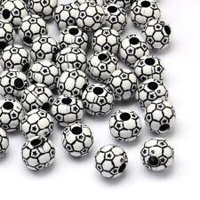 50 High Quality Acrylic Football Beads - 12mm - Free P&P