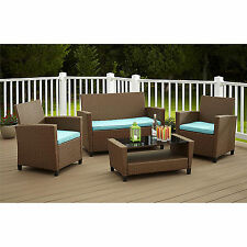 Brown Blue 4 Piece Resin Wicker Patio Conversation Seating Set Outdoor Furniture